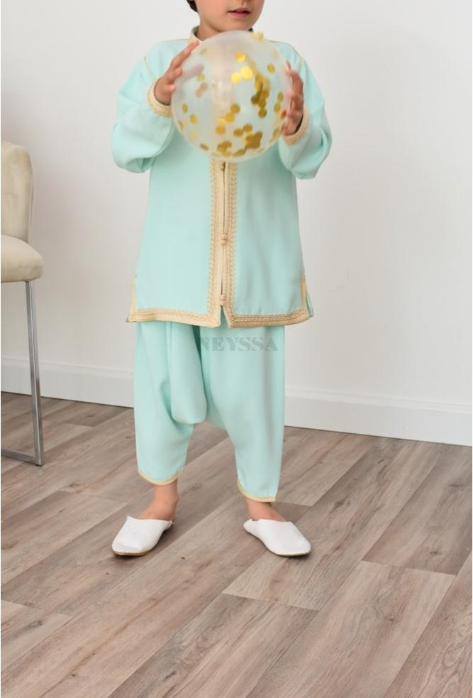 Boy's Aladdin Outfit Water Green Perfect for Eid