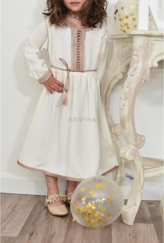 Kaftan Kleid Petite Fille Off White perfekt für Eid