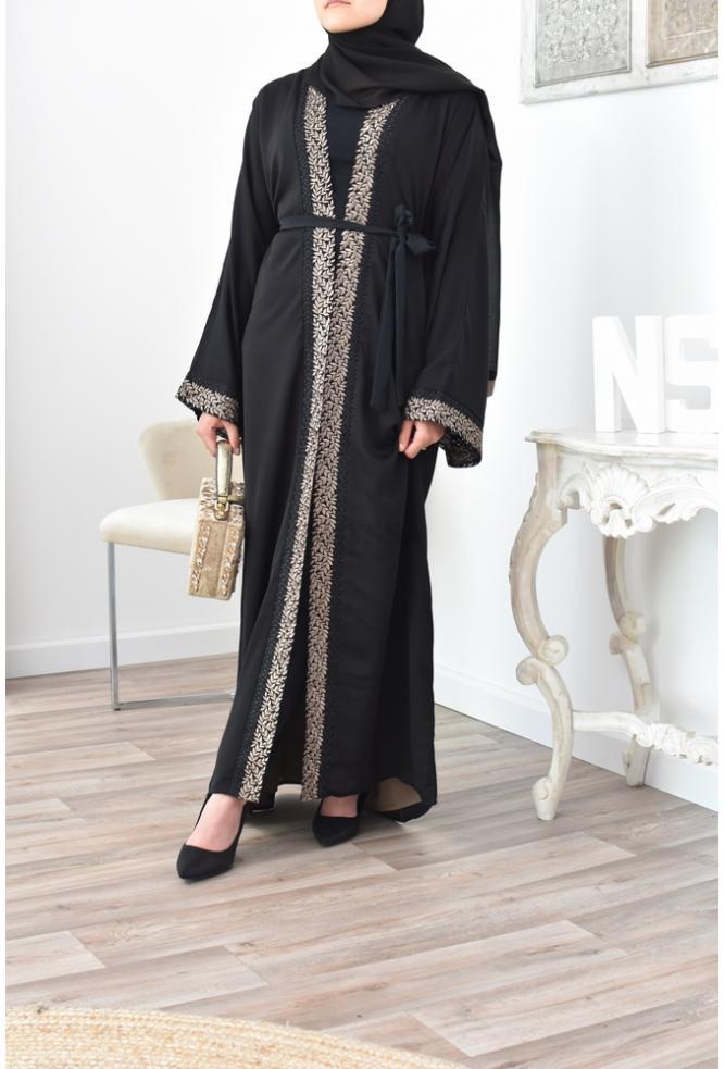 Abaya Dubai 2en1 avec fond de robe