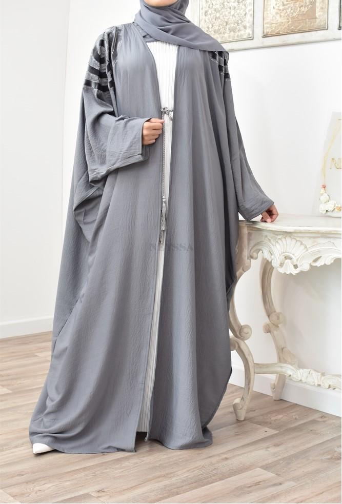Grey Long Kimono Amina