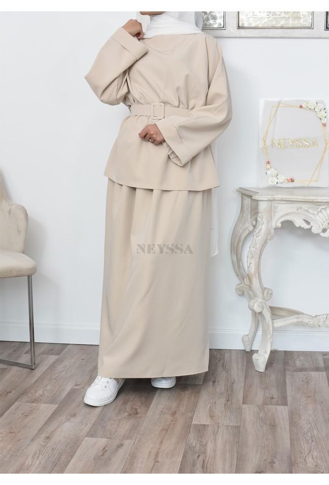 Ensemble inspirée de la modest fashion mastour et élégant pour femme musulmane