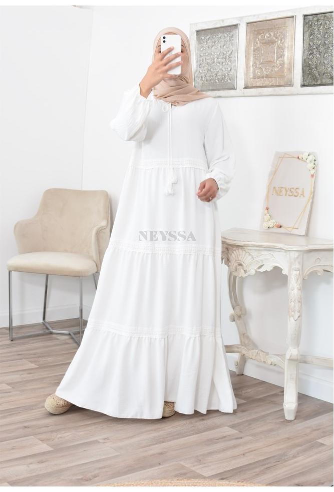 Robe bohème à détails de dentelles évasées pour femme voilées musulmanes