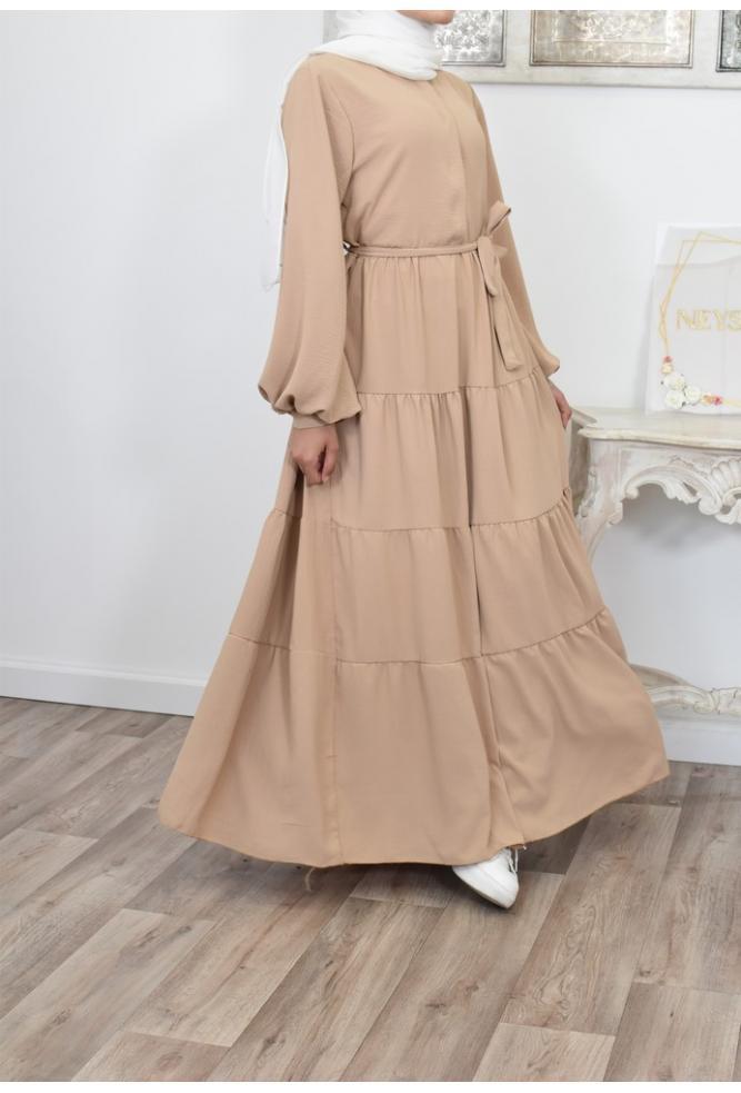Robe bohème longue évasée femme voilée