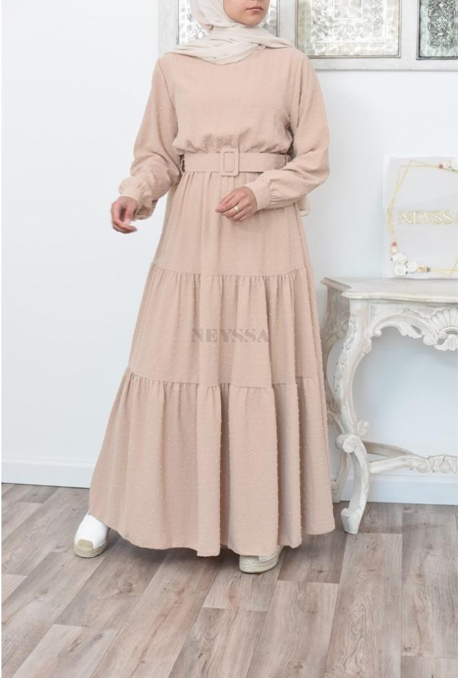 Bohemian off-white fließenden Kleid und mastoura