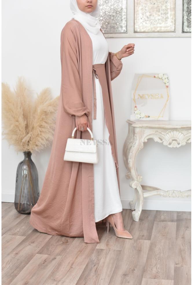 """Dernier Design Dames Dubaï Abaya taille 54/"""" avec écharpe /& prune Mo Couleur doux nidah"""