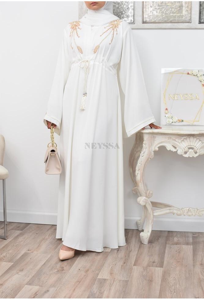 Abaya Dubai Regenschirm Off White Hochzeit Engagement