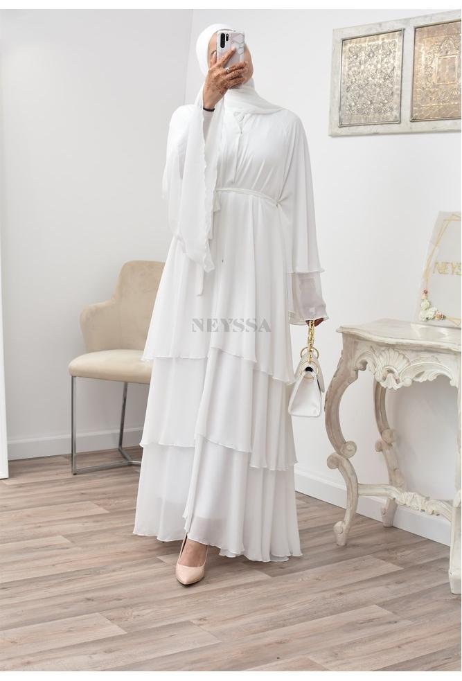 Abaya Ruffles Ghariyah Ivory