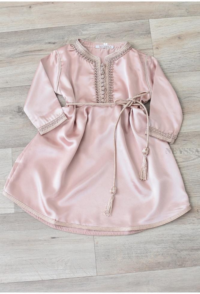 Caftan dress little girl Nude
