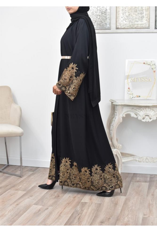 Abaya Kimono dentelle brodée pour femme voilée