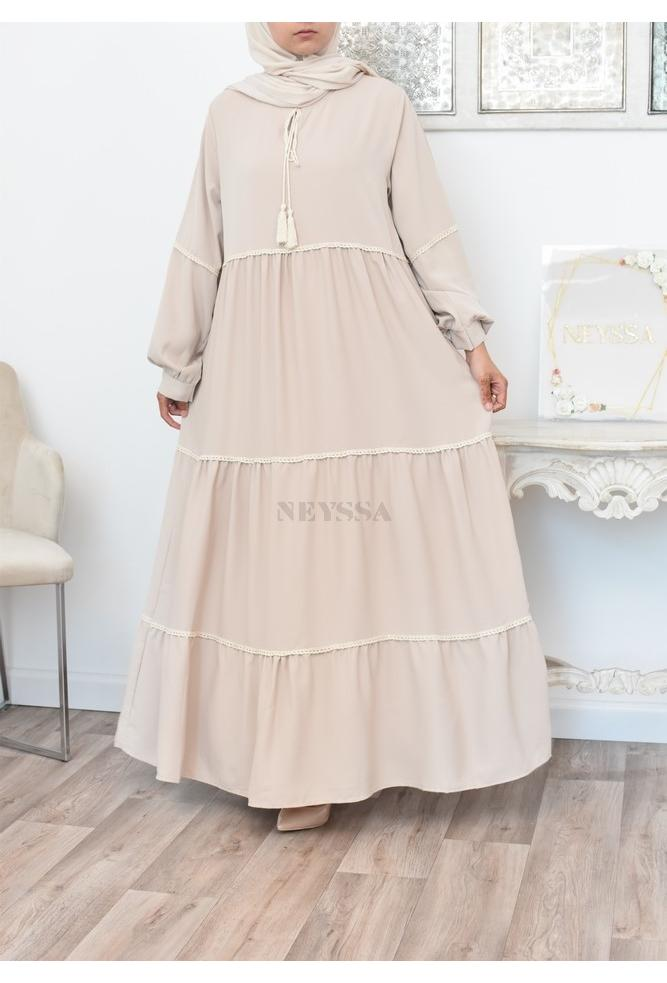 Bohemian long dress with embroidery details perfect for a modest summer woman