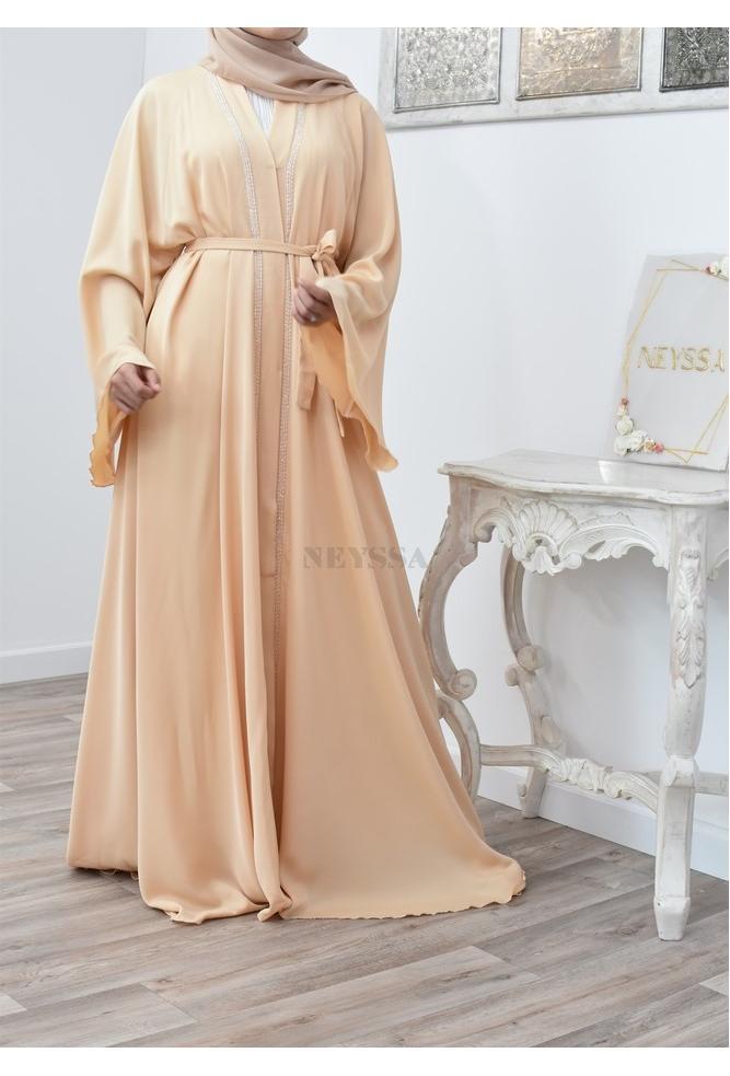 Abaya umbrella ouverte femme tenue fiançailles Aïd 2021