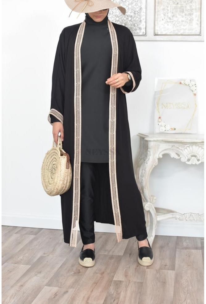 Long and loose embroidered kimono perfect for modest women