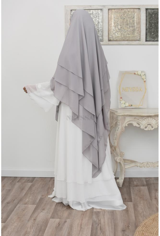 Khimar long 3 flounces muslin perfect for the daily life of the veiled Muslim woman