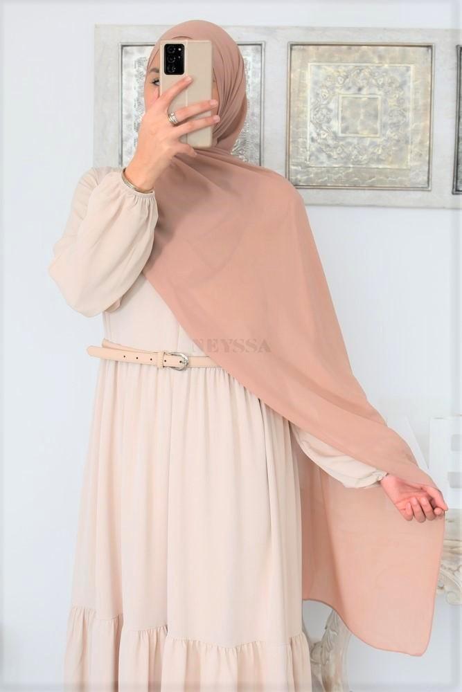 Maxi hijab Crêpe mousseline 180cm : Hijab incontournable de du dressing de la femme Musulmane: