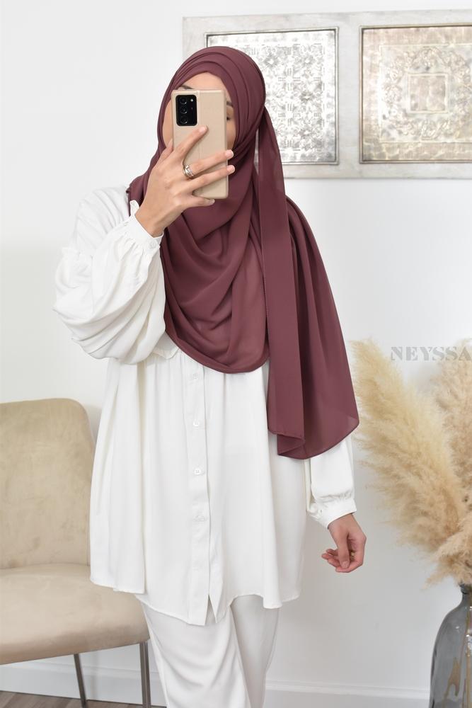 hijab mousseline crepe à enfiler